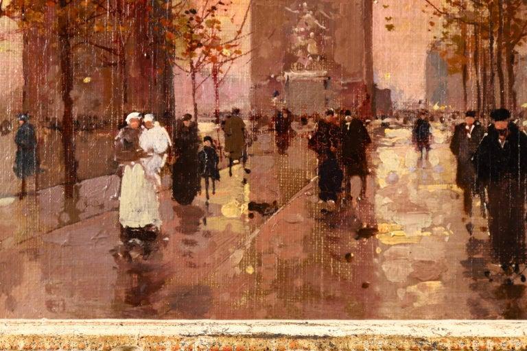 L'Arc de Triomphe - Soir - 20th Century Oil, Figures in Cityscape by E L Cortès For Sale 5