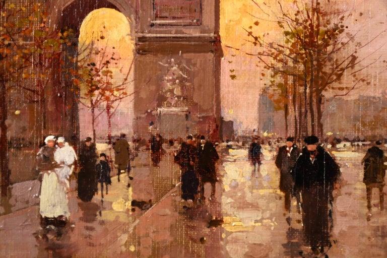 L'Arc de Triomphe - Soir - 20th Century Oil, Figures in Cityscape by E L Cortès For Sale 6