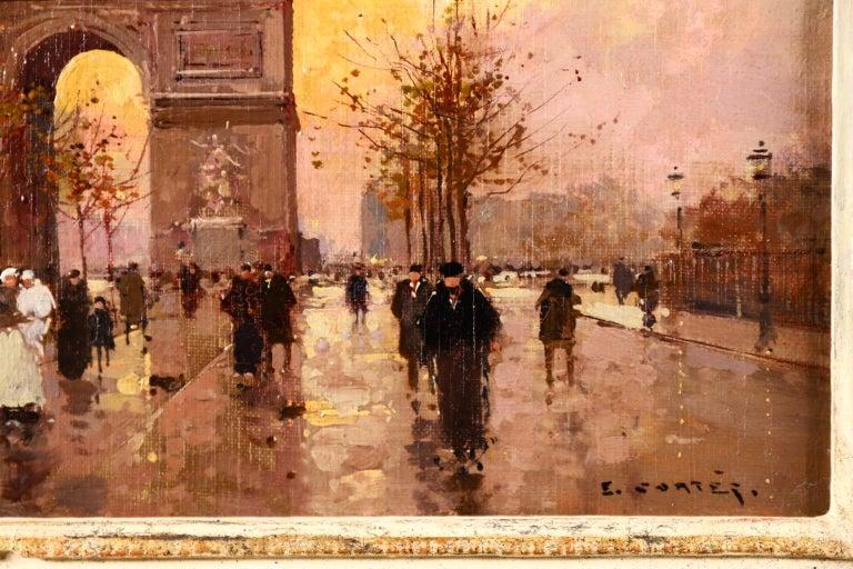 L'Arc de Triomphe - Soir - 20th Century Oil, Figures in Cityscape by E L Cortès - Impressionist Painting by Édouard Leon Cortès