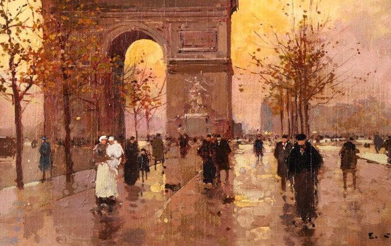 L'Arc de Triomphe - Soir - 20th Century Oil, Figures in Cityscape by E L Cortès - Brown Figurative Painting by Édouard Leon Cortès