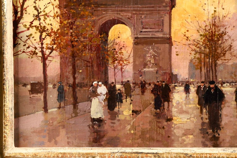A wonderful oil on original canvas circa 1930 by sought after French impressionist painter Edouard Leon Cortes depicting figures not the street by the Arc de Triomphe in Paris, France on what looks to be a cold autumn evening in the city. The sun is