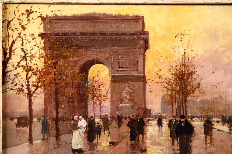 L'Arc de Triomphe - Soir - 20th Century Oil, Figures in Cityscape by E L Cortès For Sale 1