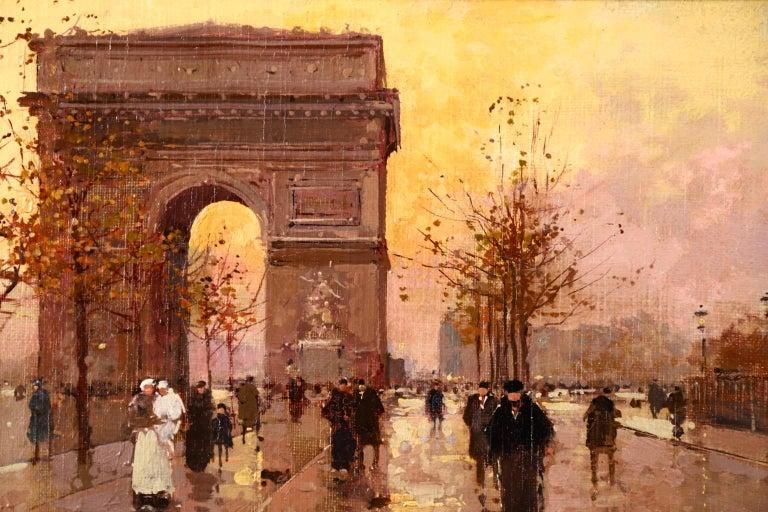 L'Arc de Triomphe - Soir - 20th Century Oil, Figures in Cityscape by E L Cortès For Sale 2