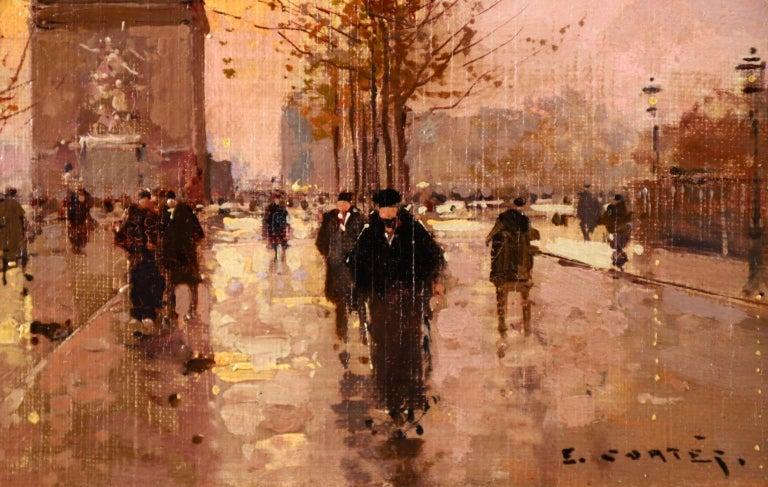 L'Arc de Triomphe - Soir - 20th Century Oil, Figures in Cityscape by E L Cortès For Sale 3