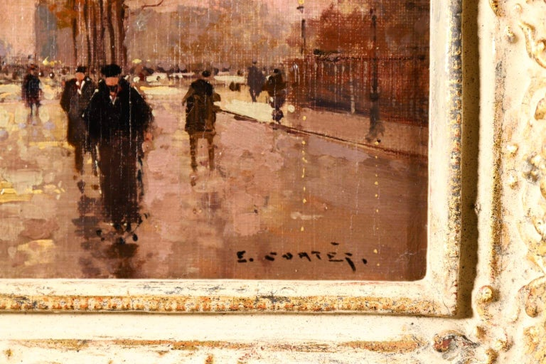 L'Arc de Triomphe - Soir - 20th Century Oil, Figures in Cityscape by E L Cortès For Sale 4