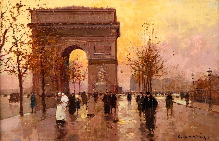 Édouard Leon Cortès Figurative Painting - L'Arc de Triomphe - Soir - 20th Century Oil, Figures in Cityscape by E L Cortès