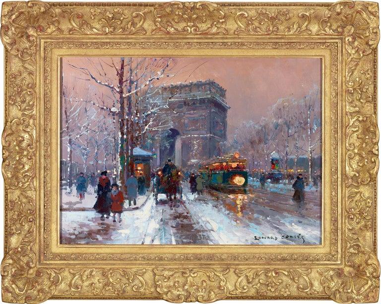 L'Arc de Triomphe, Winter - Painting by Édouard Leon Cortès