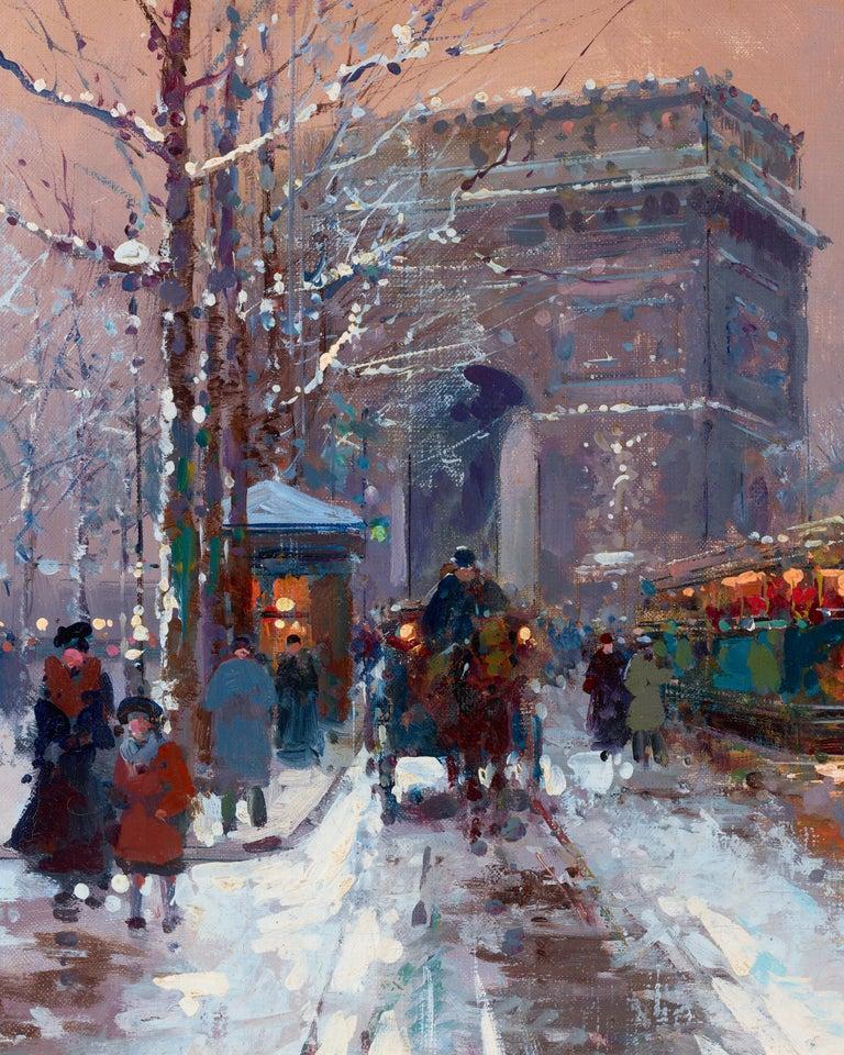 L'Arc de Triomphe, Winter - Post-Impressionist Painting by Édouard Leon Cortès