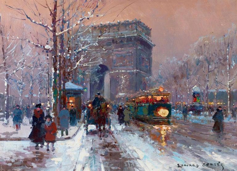 Édouard Leon Cortès Landscape Painting - L'Arc de Triomphe, Winter