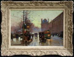 Le Quai du Louvre- 20th Century Oil, Figures in City Landscape by Edouard Cortes