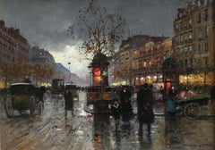 Les Grands Boulevards - 20th Century Oil, Figures in Cityscape by Edouard Cortes