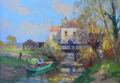 Man Fishing in Row Boat near Village, House, Bridge, Normandie, France,