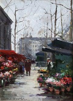 Marche aux Fleurs - Place de la Madeleine - 20th Century Oil, Landscape - Cortes
