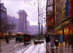 Paris after the Rain - Impressionist Oil, Figures in Cityscape by E L Cortès