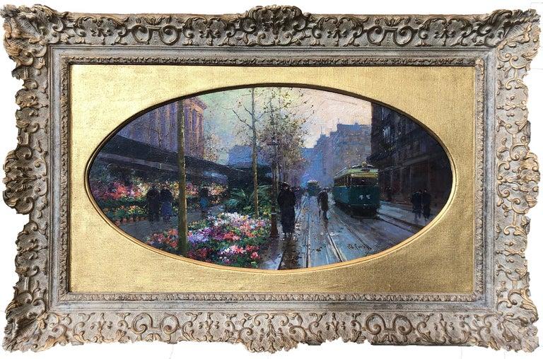 Édouard Leon Cortès Landscape Painting - Paris Flower Market