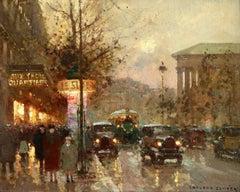 Paris - La Madeleine la Nuit - 20th Century Oil, Figures in Cityscape by Cortes