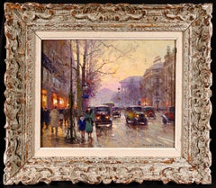 Paris - Place de La Madelaine - 20th Century Oil, Figures in Cityscape by Cortes