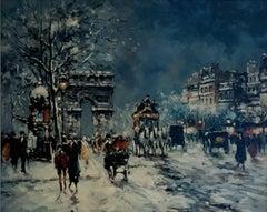 Paris Street Scene, Winter Nocturne, Arc de Triomphe, Champs-Élysées, Snow Night