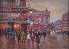 """""""Place de La Opera, Paris,"""" Édouard Cortès, French Impressionist Street Scene"""