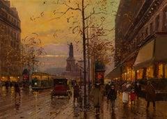 Place de la République, crépuscule - Twilight oil painting of Paris