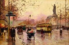 Place de la Republique - Impressionist Oil, Figures - Cityscape - Edouard Cortes