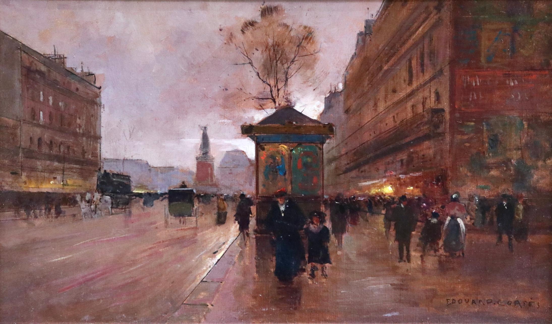Place de la République-Paris - Impressionist Oil, Figures in Cityscape -E Cortes