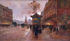 Place de la République-Paris - Impressionist Oil, Figures in Cityscape -E Cortes
