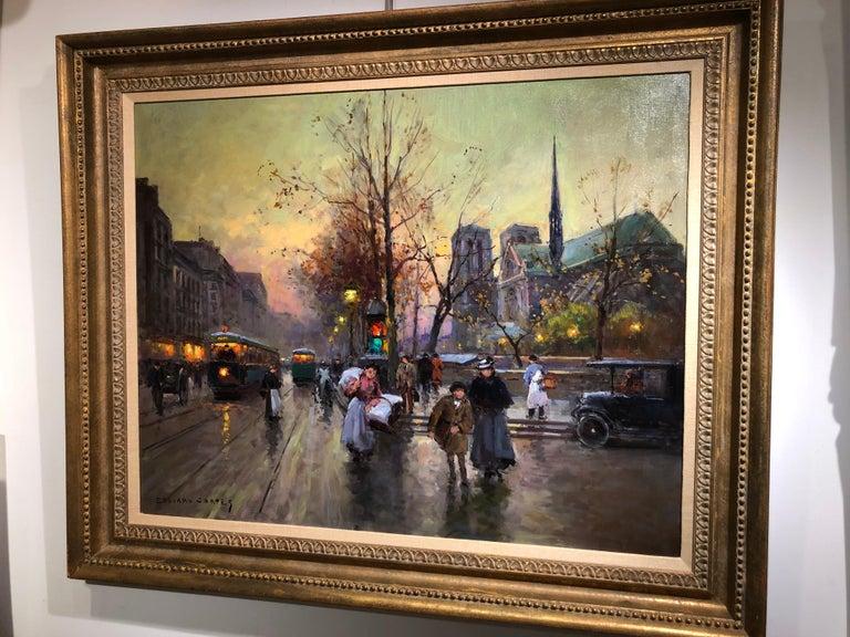 Quai de la Seine, Notre Dame aux Printemps - Impressionist Painting by Édouard Leon Cortès
