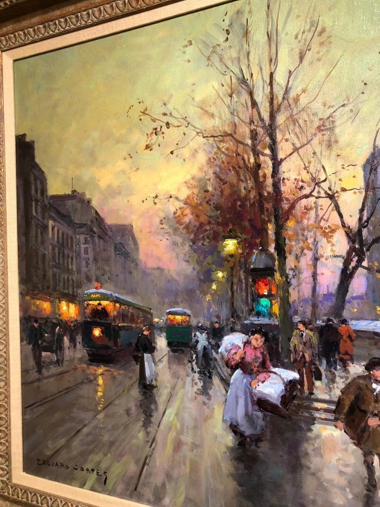 Quai de la Seine, Notre Dame aux Printemps - Brown Figurative Painting by Édouard Leon Cortès