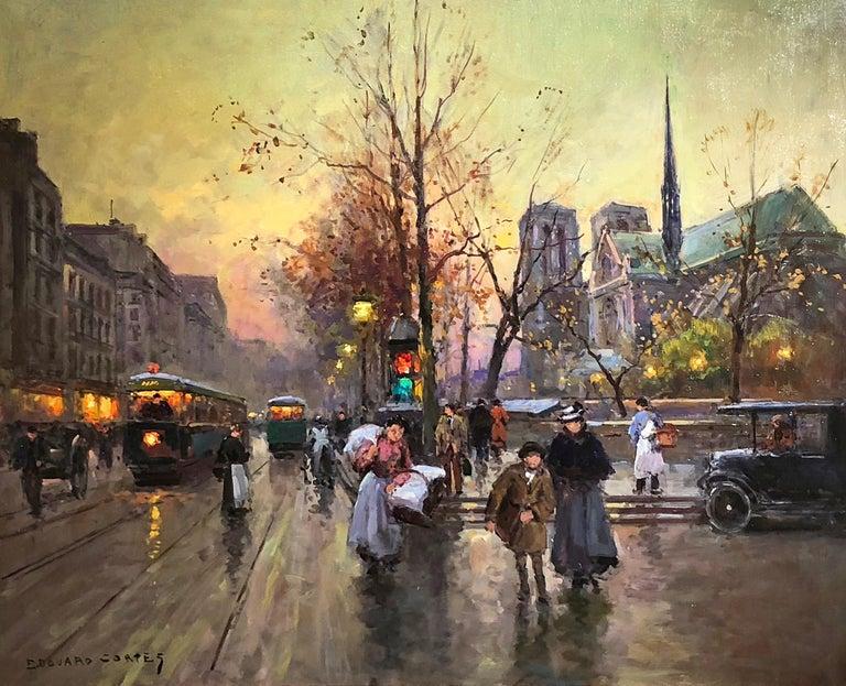 Édouard Leon Cortès Figurative Painting - Quai de la Seine, Notre Dame aux Printemps