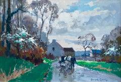 Route de Grentheville au printemps - Impressionist Oil, Landscape by E L Cortes