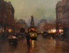 """Rue de la Republique"", Early 20th Century Oil on Canvas by Édouard Cortès"