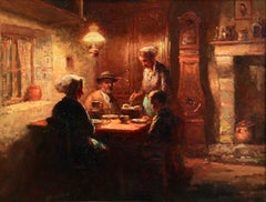 Souper en Normandie - Impressionist Oil, Figures in Interior by Edouard Cortes