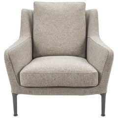 Neutral Textured Fabric Lounge Chair with Back Cushion, B&B Italia
