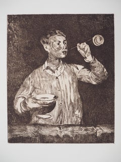 Boy Playing with Soap Bubble - Original Etching, ref. Guerin #54