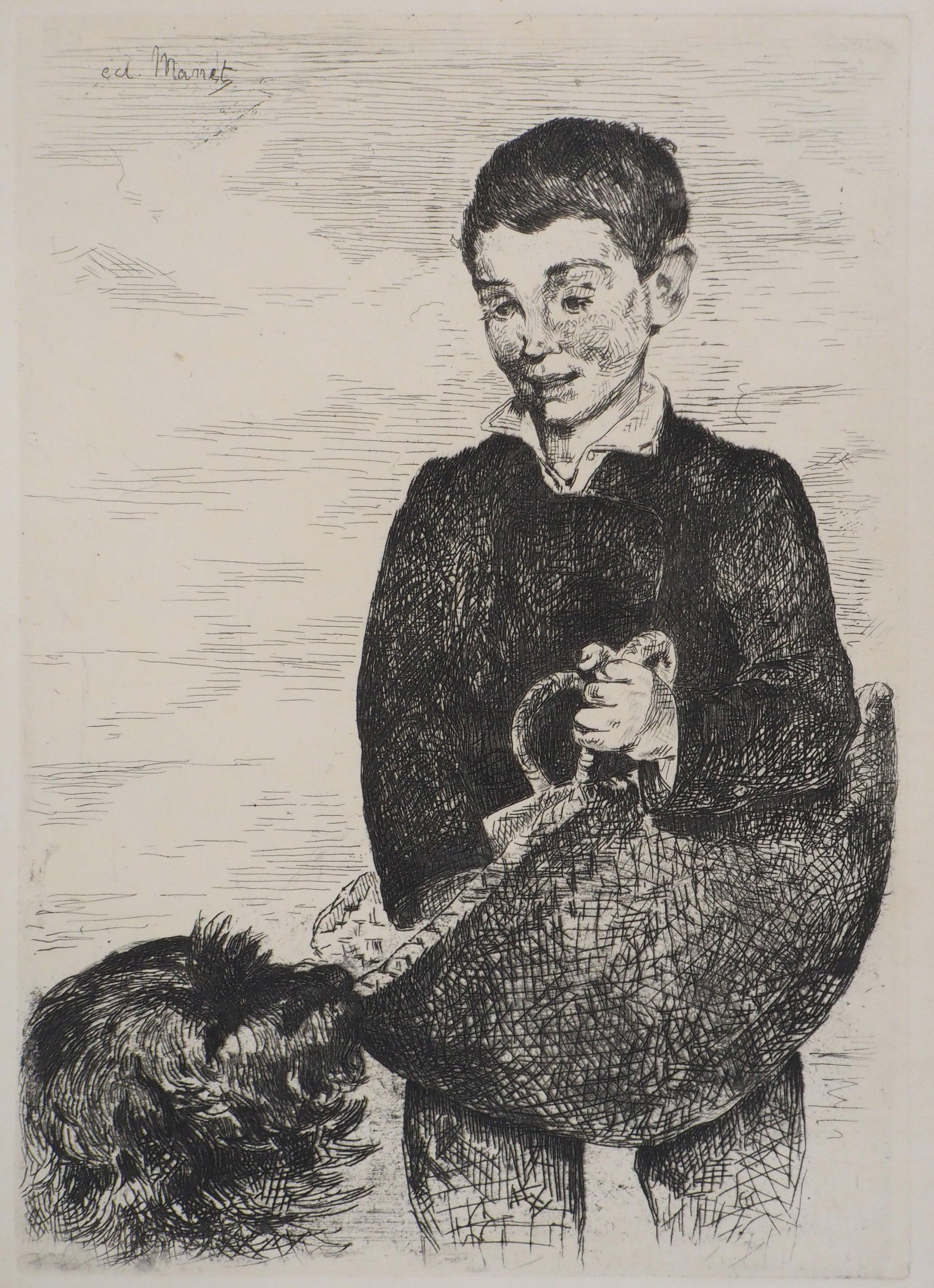 Boy with a Dog - Original Etching (Guerin #27 and Harris #31)