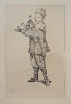 Child with a Tray (Pear and Bottle) - Original Etching (Guerin #15)