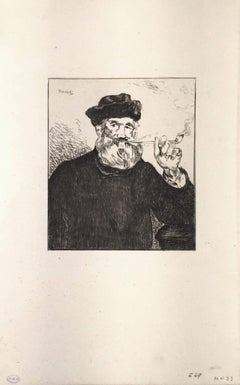 Le Fumeur - Original Etching by E. Manet - 1866