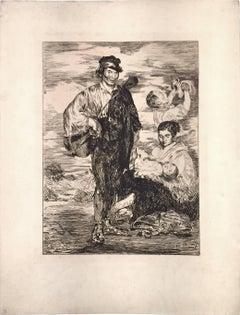 Les Gitanos - Original Etching by E. Manet