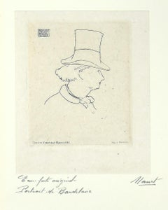 Portrait of Charles Baudelaire with Hat II -  Etching by E. Manet - 1869