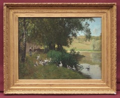 Landscape with pond and gooses
