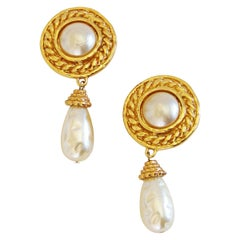 Edouard Rambaud Baroque Pearl Dangle Earrings Clip Style 1970s
