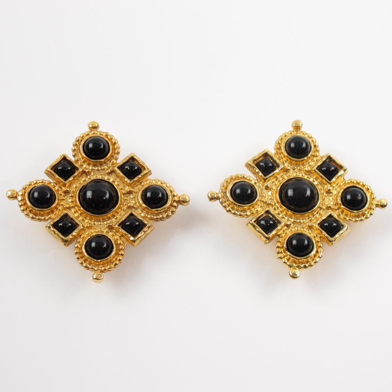 Byzantine Edouard Rambaud Clip Earrings Black Cabochon For Sale