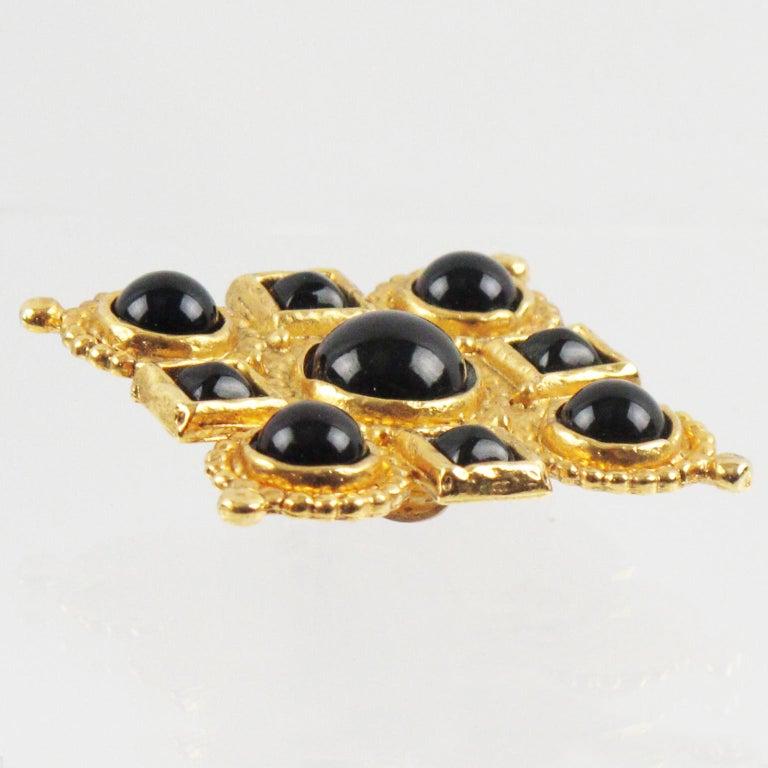 Edouard Rambaud Clip Earrings Black Cabochon For Sale 1