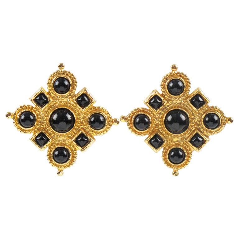 Edouard Rambaud Clip Earrings Black Cabochon For Sale