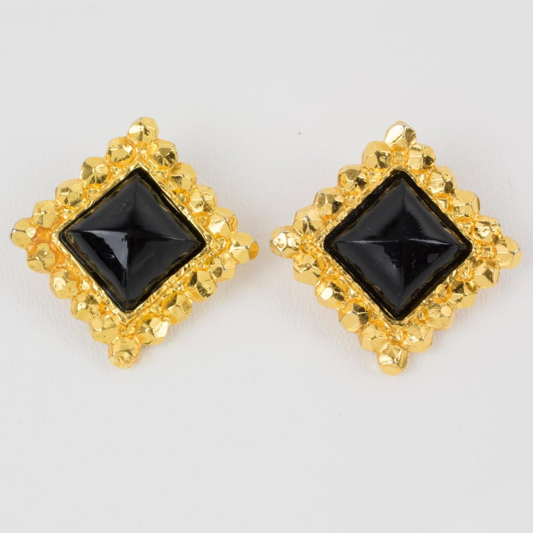 Modern Edouard Rambaud Clip Earrings Black Resin Cabochon For Sale