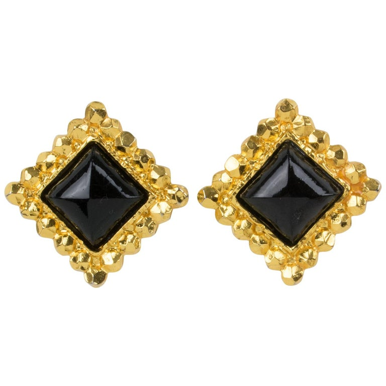 Edouard Rambaud Clip Earrings Black Resin Cabochon For Sale