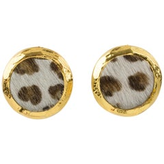 Edouard Rambaud Clip Earrings Faux Fur Leopard