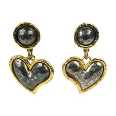 Edouard Rambaud Heart Dangle Earrings, 1980s