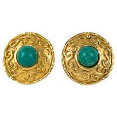 Edouard Rambaud Paris Byzantine Clip Earrings with Turquoise Resin Cabochon